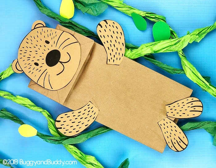 Sea Otter Paper Bag Puppet Craft for Kids with free sea otter and starfish templates