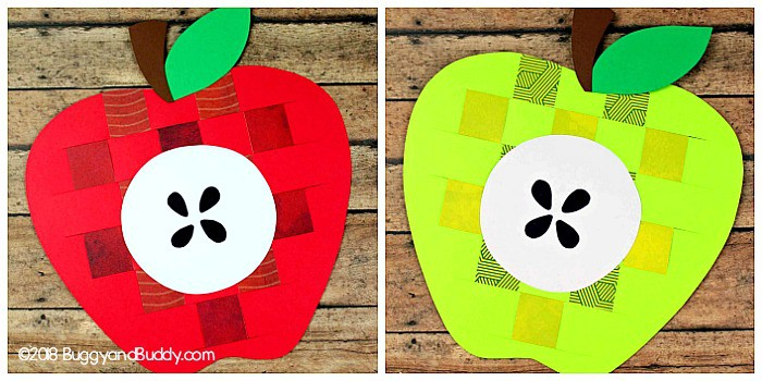 woven paper apple craft for kids in red or green