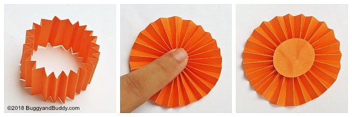 press your paper together to form a circle shape