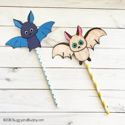 Halloween STEAM Activity for Kids: Bat Straw Rockets with Free Printable