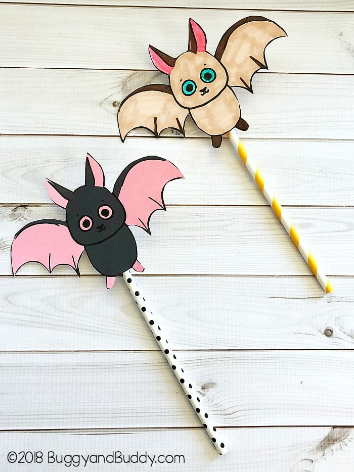 photograph about Printable Bat Template named Traveling Bat Straw Rockets with No cost Printable Bat Template