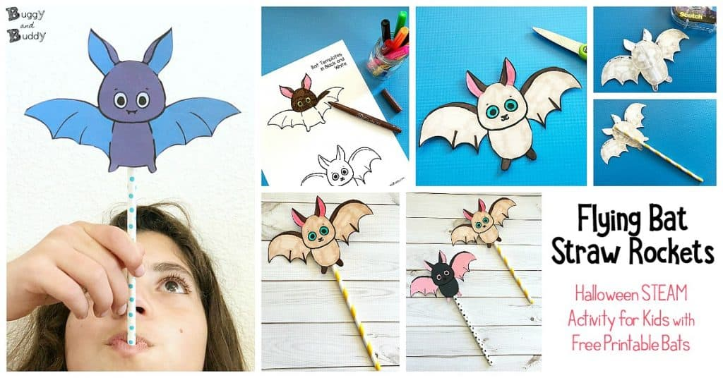 photo relating to Printable Bat Template titled Traveling Bat Straw Rockets with Absolutely free Printable Bat Template