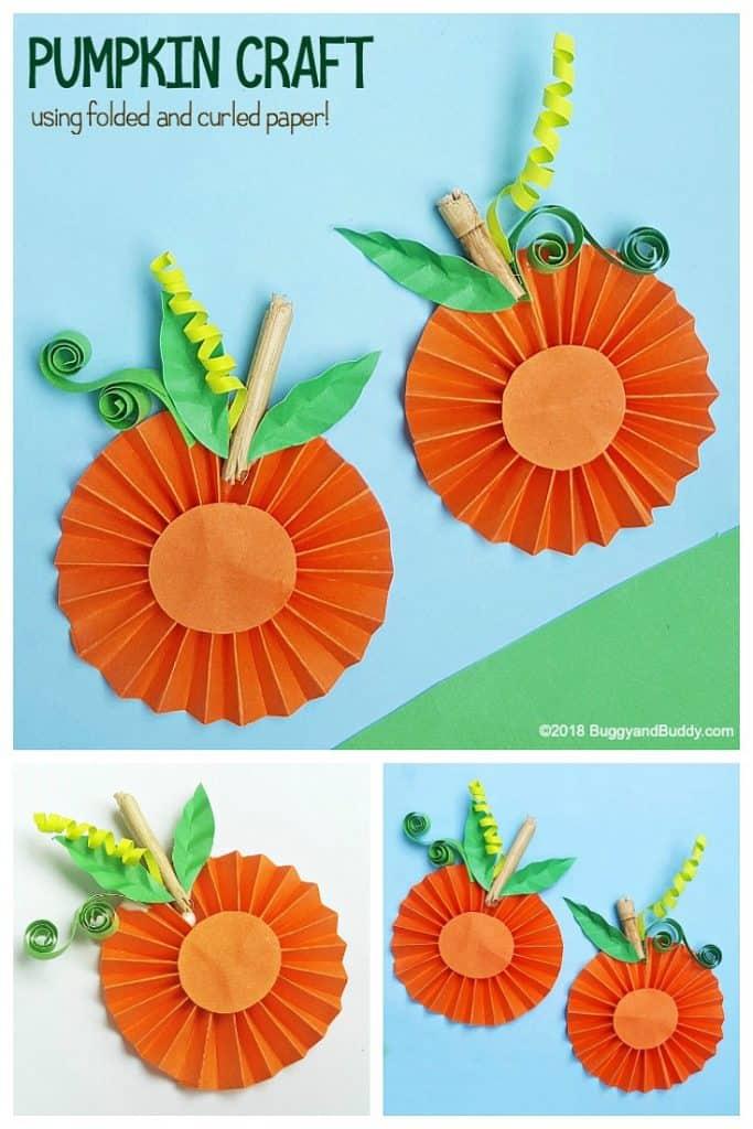 Folded Paper Pumpkin Craft for Kids
