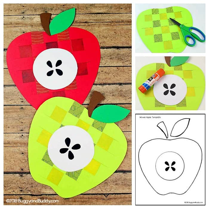 woven paper apple craft for kids for fall