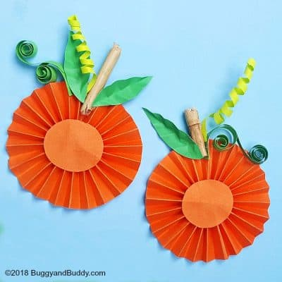 Folded Paper Pumpkin Craft for Kids