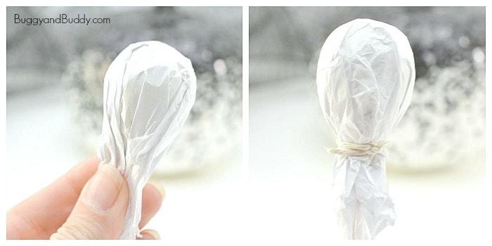 tie white tissue paper over your lollipop