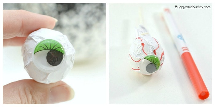 add a googly eye and red marker lines to your tissue paper to make an eyeball