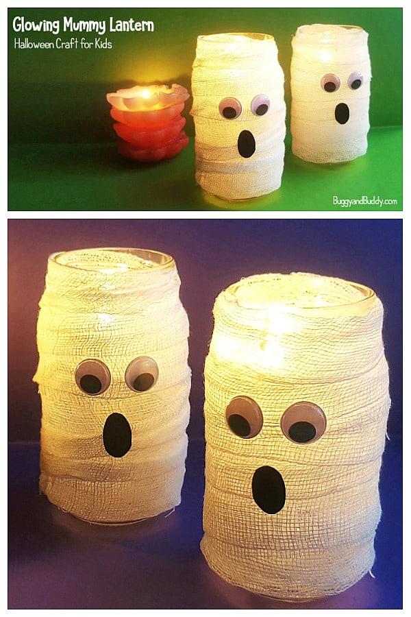 DIY Glowing Mummy Lantern  Craft for Kids for Halloween