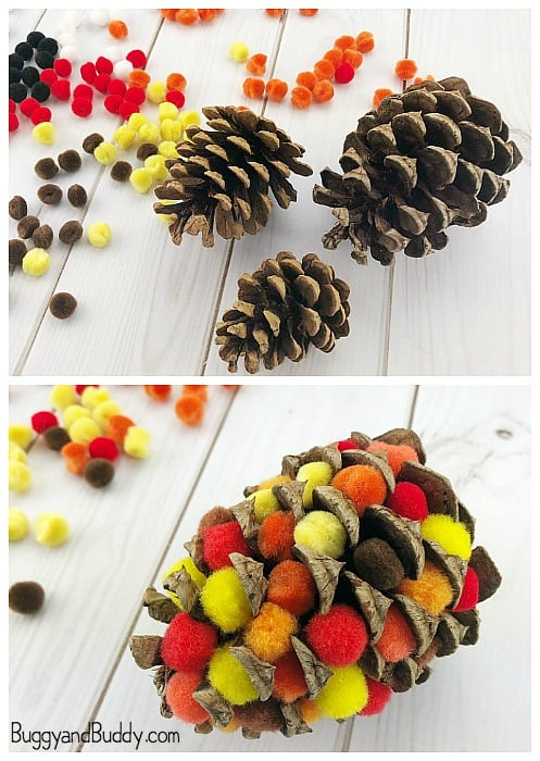 add pompoms to your pinecones