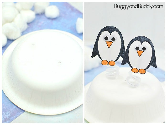 punch two holes into your bowl and add your pipe cleaner penguins