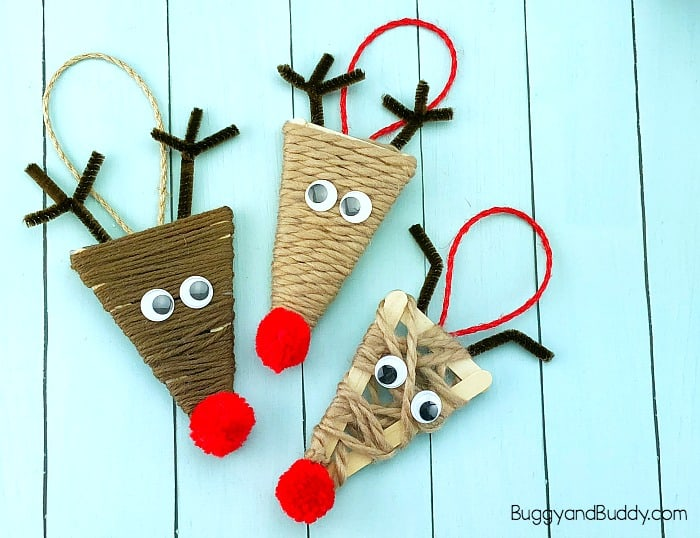 Yarn Wrapped Craft Stick Reindeer Ornament Craft For Kids Buggy