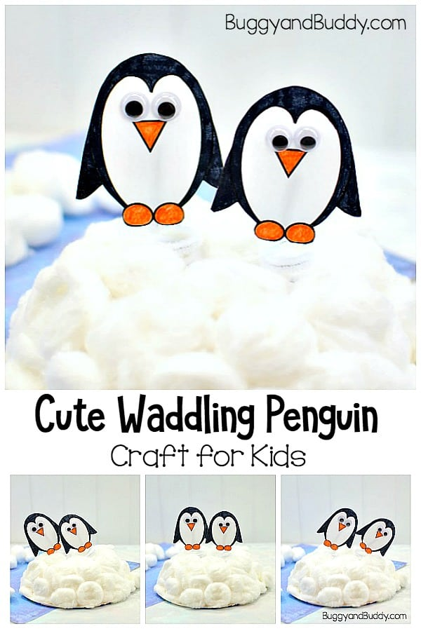 Waddling Penguin Craft for Kids Perfect for Winter with free printable penguin template