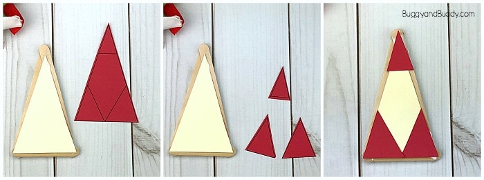 glue the red paper onto your ornament