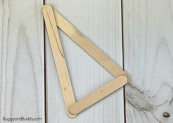 glue your craft sticks into a triangle