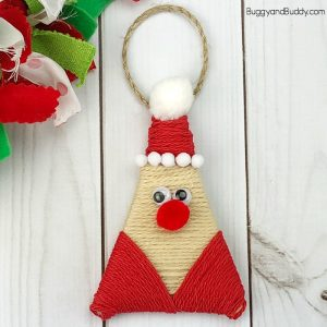 yarn wrapped santa ornament craft for kids
