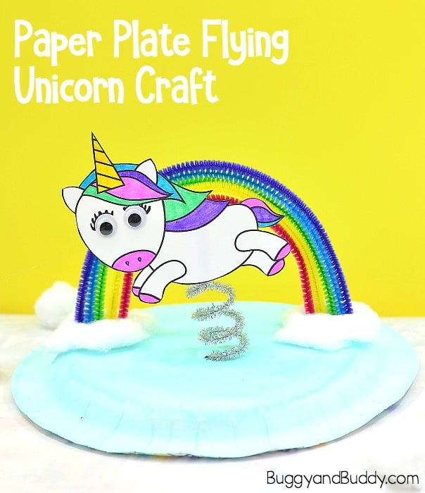 photograph relating to Free Printable Unicorn Template named Unicorn and Rainbow Paper Plate Craft for Youngsters - Buggy and Mate