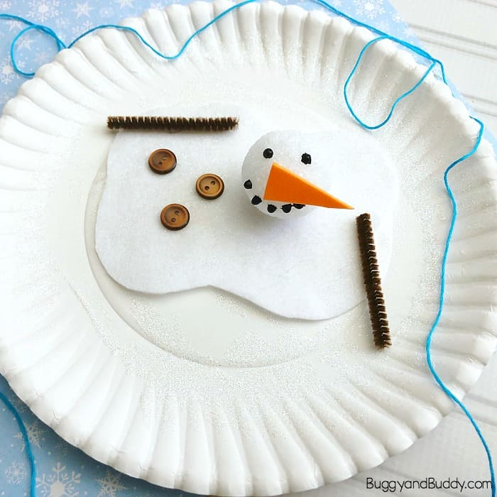 Melted Snowman Craft for Kids Using a Paper Plate- Perfect for Winter!