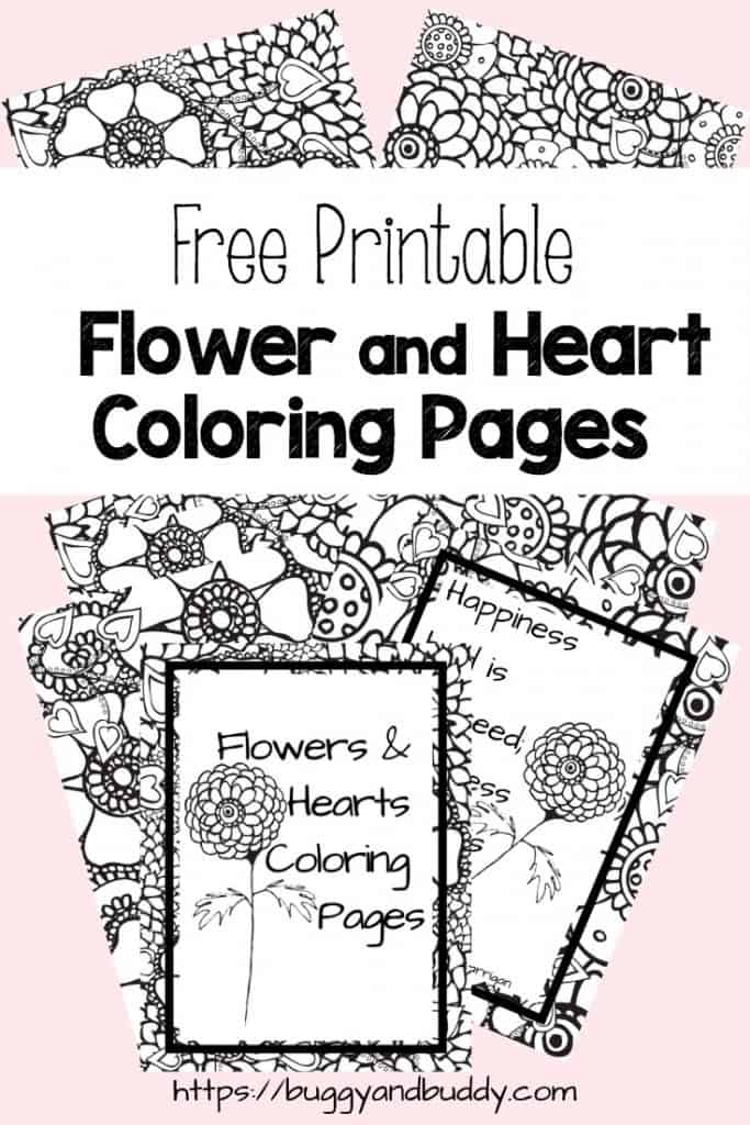 photograph about Printable Hearts to Color called Totally free Printable Flower and Middle Coloring Internet pages - Buggy and Good friend