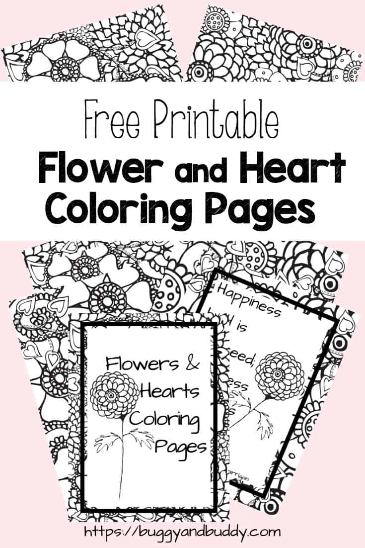 photo about Heart Coloring Pages Printable named Totally free Printable Flower and Center Coloring Internet pages - Buggy and Close friend