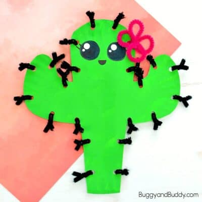 Paper Plate Cactus Craft for Kids